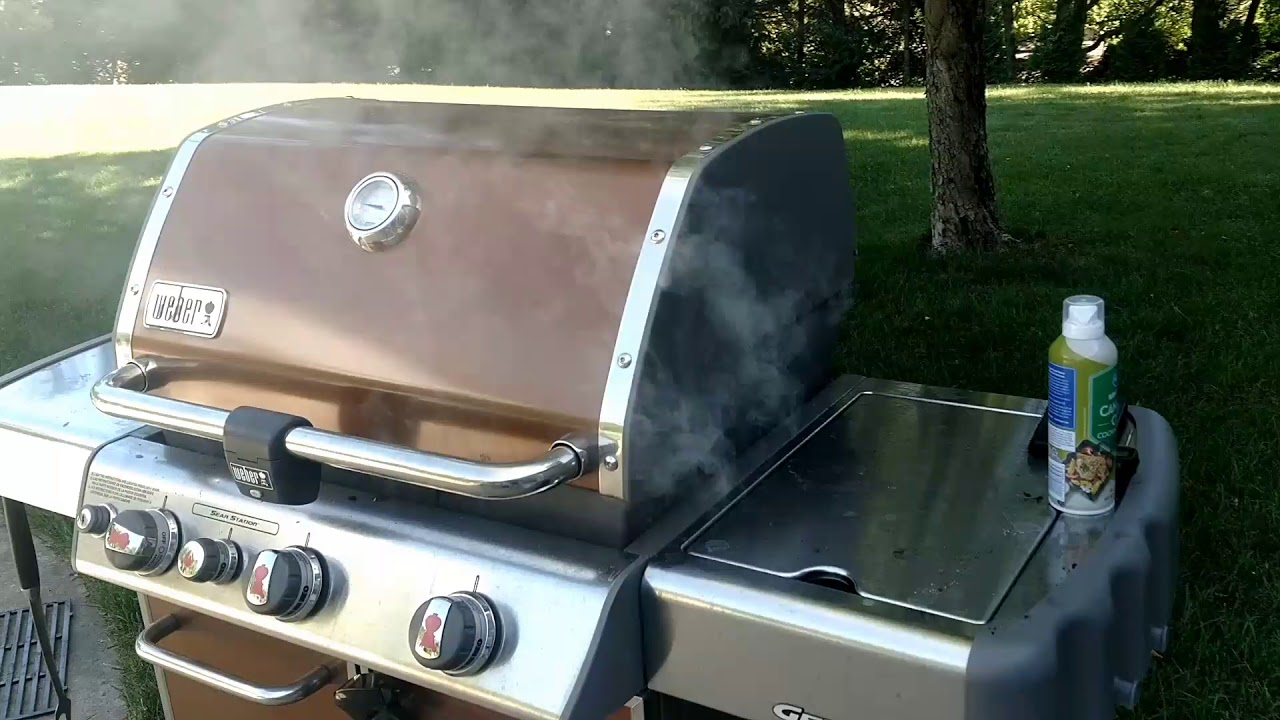 Smoking ribs on a gas grill! Weber Genesis with a smoking wood chip box!