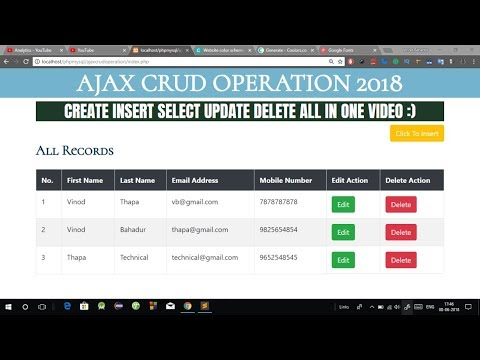 Crud Operation using AJAX in PHP in Hindi. Live Table Add Update Delete using AJAX in PHP MySQLi