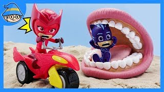 PJ Masks falls into the trap of Romeo. Romeo disguises himself with a huge mouth.