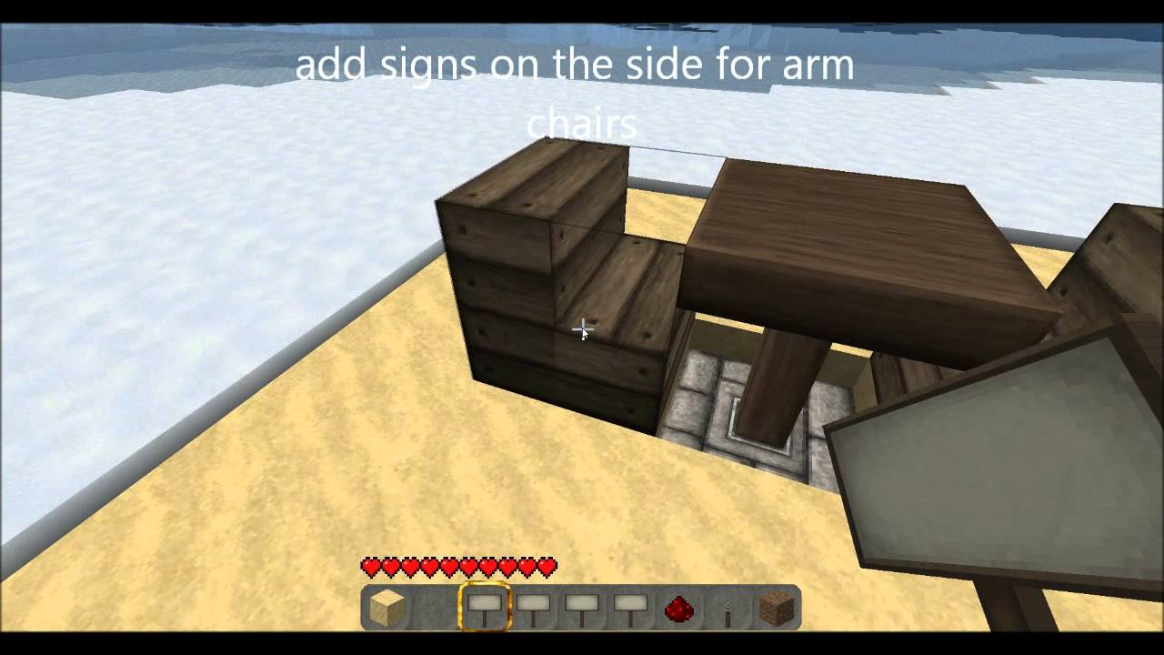 How to make a table and chairs in minecraft with pistons youtube how to make a table and chairs in minecraft with pistons publicscrutiny Images