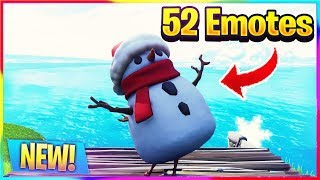 *NEW* 52 EMOTES WITH SNEAKY SNOWMAN! | Fortnite Battle Royale Dances