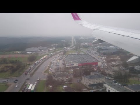 Landing in Vilnius in a Wizz Air Airbus A320