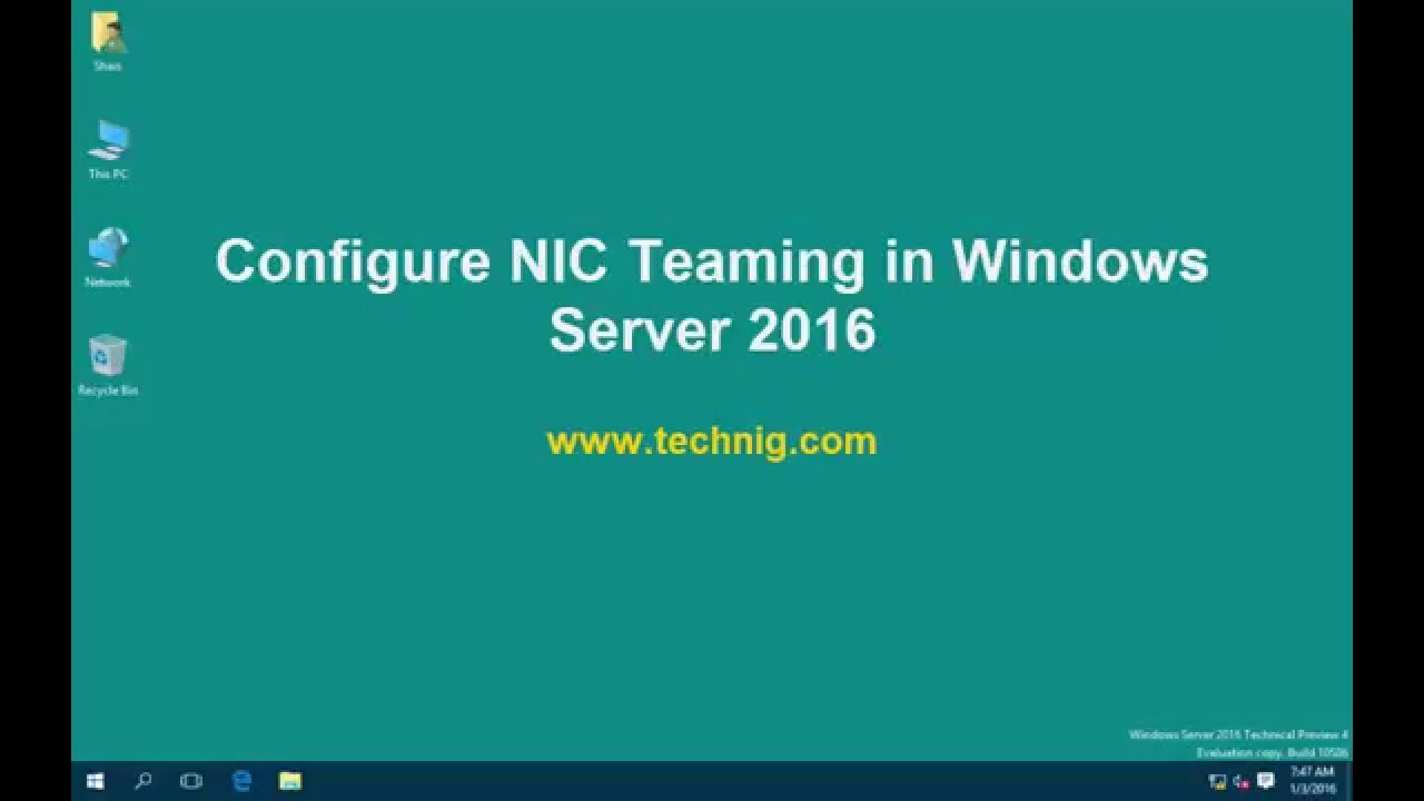 How to Configure NIC Teaming in Windows Server 2016?