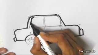 How to draw a Cartoon Car - in easy steps for children, kids, beginners