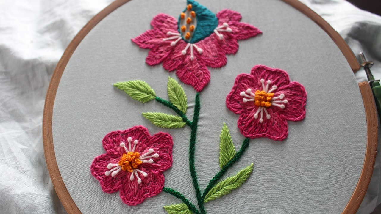 Hand Embroidery Designs Beautiful Flower Design Stitch