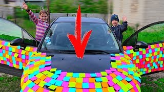 Cine PRIMUL? Challenge cu NOTITE #2! Sticky Notes Challenge Sofia vs Edik/ Video pentru copii