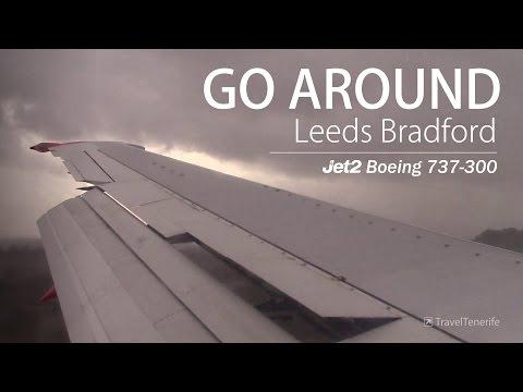 LAST SECOND GO AROUND   Stormy Leeds Bradford   Jet2 B737-3QC