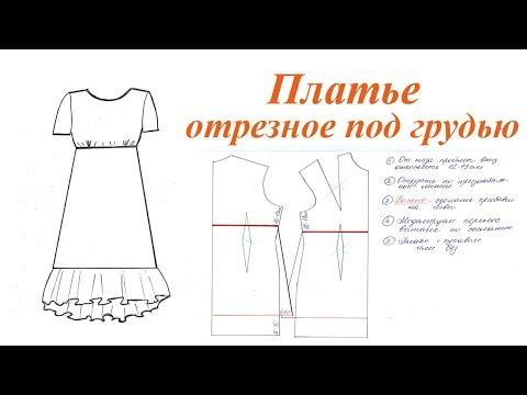 Платье отрезное под грудью, с оборкой по низу