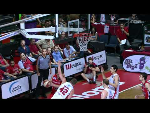 Brad Robbins throws ball at Dave Gruber