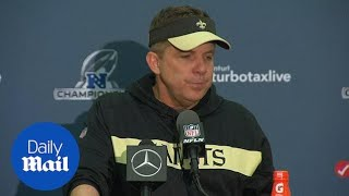 New Orleans Saints coach Sean Payton reacts to championship loss