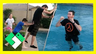 PUSHED INTO THE POOL! 😱 (Day 1832)   Clintus.tv