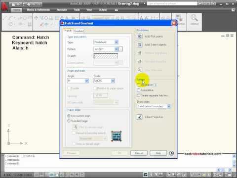 AutoCAD Tutorial - Understanding Associtive Properties of  Hatch and Fill