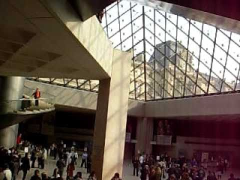 Inside the glass pyramid , Louvre , Paris