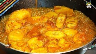 191 - Ananas flambè..anche solo da vedè (dessert dolce e goloso facile e velocissimo da preparare)