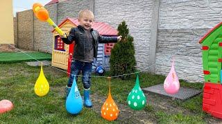 Daddy Finger Nursery Rhymes | Learn Colors With Balloons | Bermain Mengisi Air Dalam Balon