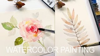 Rose and Leaves Painting with Watercolors 수채화 水彩畫