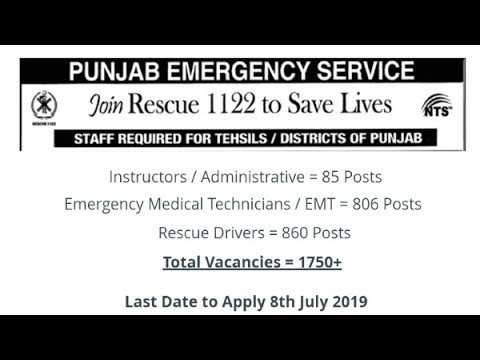 Rescue 1122 Jobs 2019 for 1750+ Admin, EMT, Rescue Drivers, Instructors &  Other (NTS Form)