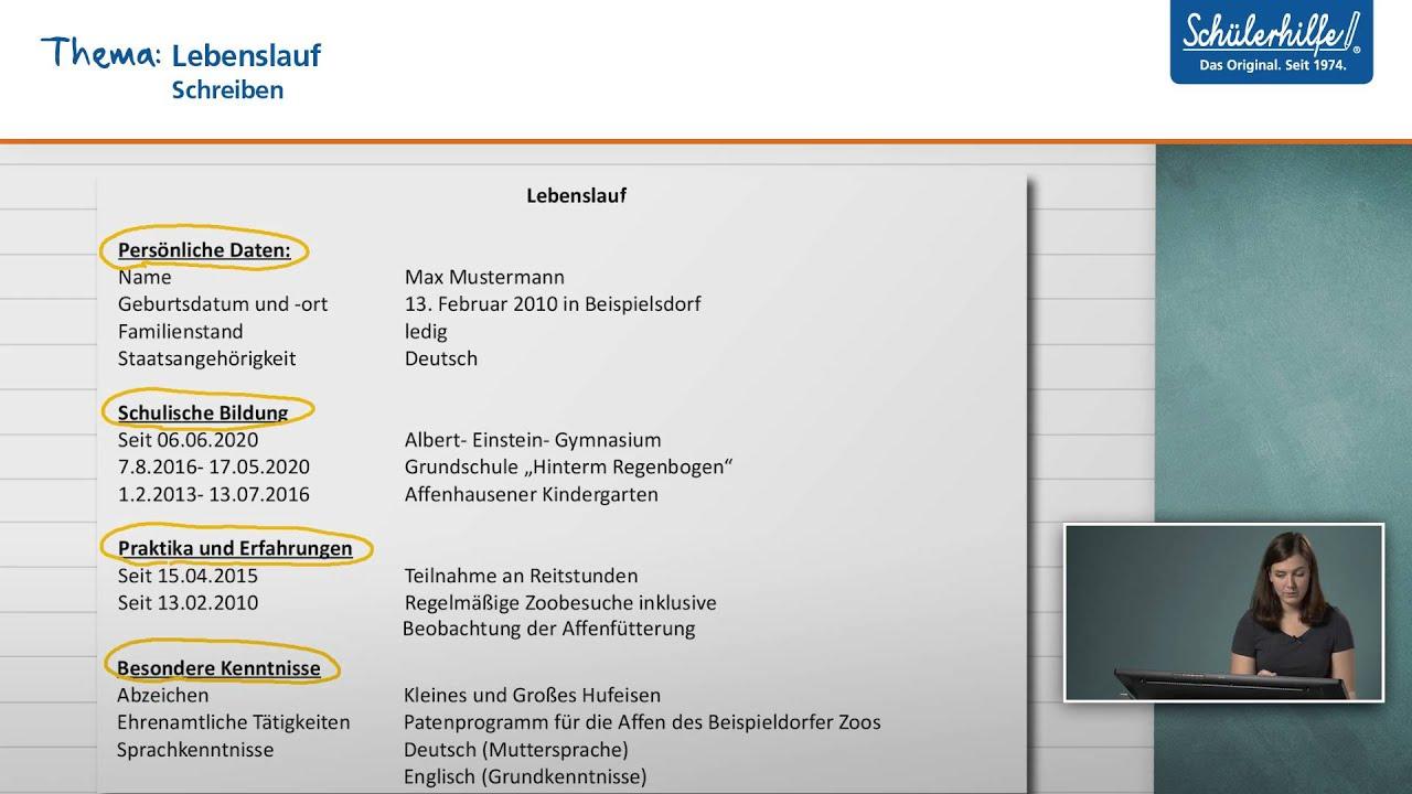 bewerbungsschreiben lebenslauf schreiben deutsch schlerhilfe lernvideo - Lebenslauf Staatsangehorigkeit