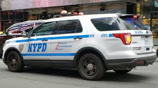 NYPD Midtown North Responding On 7th Ave With Rumblers In Heavy Traffic In Midtown, Manhattan, NYC