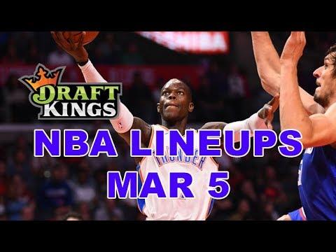 DraftKings, FanDuel, Yahoo NBA DFS Lineups - Tues 3/5 - Four Corners by Awesemo.com