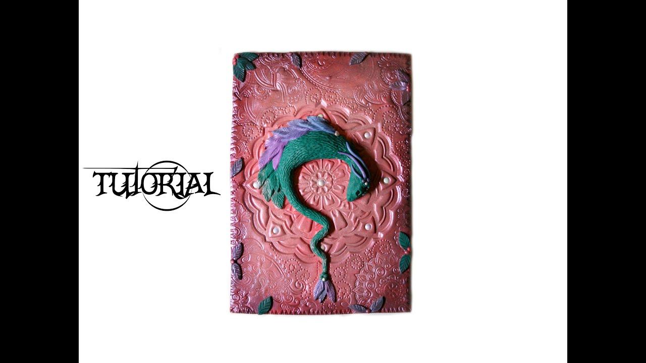 Photo Fantasy Book Cover Tutorial ~ Polymer clay dragon journal cover art piece diy tutorial