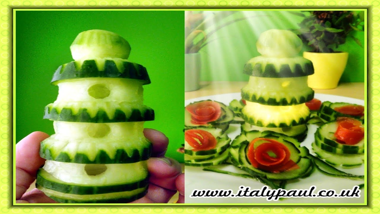 Simple vegetable carvings with cucumber imgkid