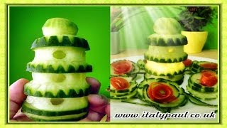 Repeat youtube video Art In Cucumber Show - Vegetable Carving Tower Garnish