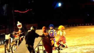 Dirt Bike Jumping over Clowns