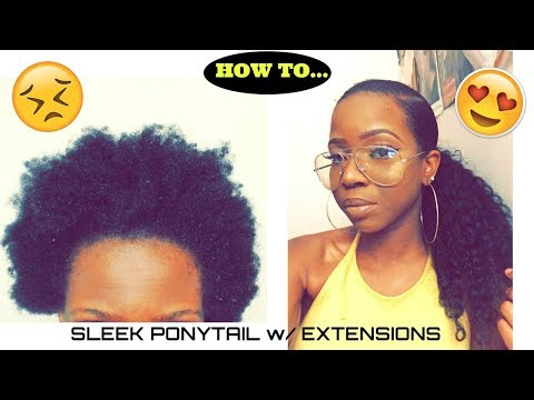 HOW TO: Slick Back Ponytail on 4C Hair w/ Extensions | UNice Hair