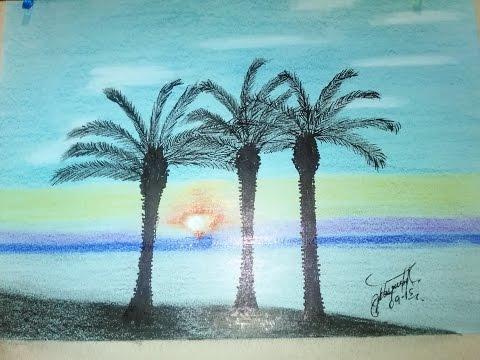 Wie zeichnen Landschaft mit palmen einfach n.5, How to draw a landscape with palms n.5