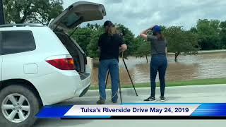 Tulsa flooding: See the River overflowing its banks on Riverside Drive