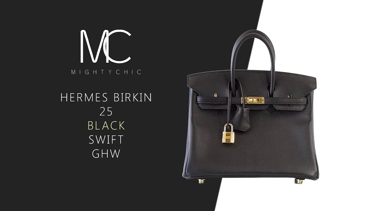 24c9ae80af MIGHTYCHIC • Hermes Birkin 25 Black Swift Leather Gold Hardware ...