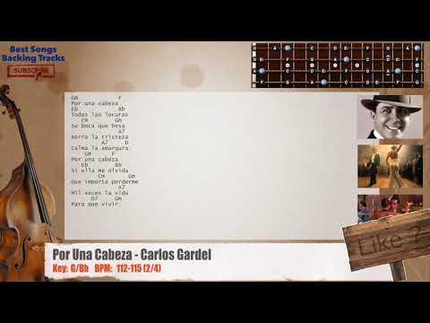 Por Una Cabeza (Tango) - Carlos Gardel Bass Backing Track with chords and lyrics