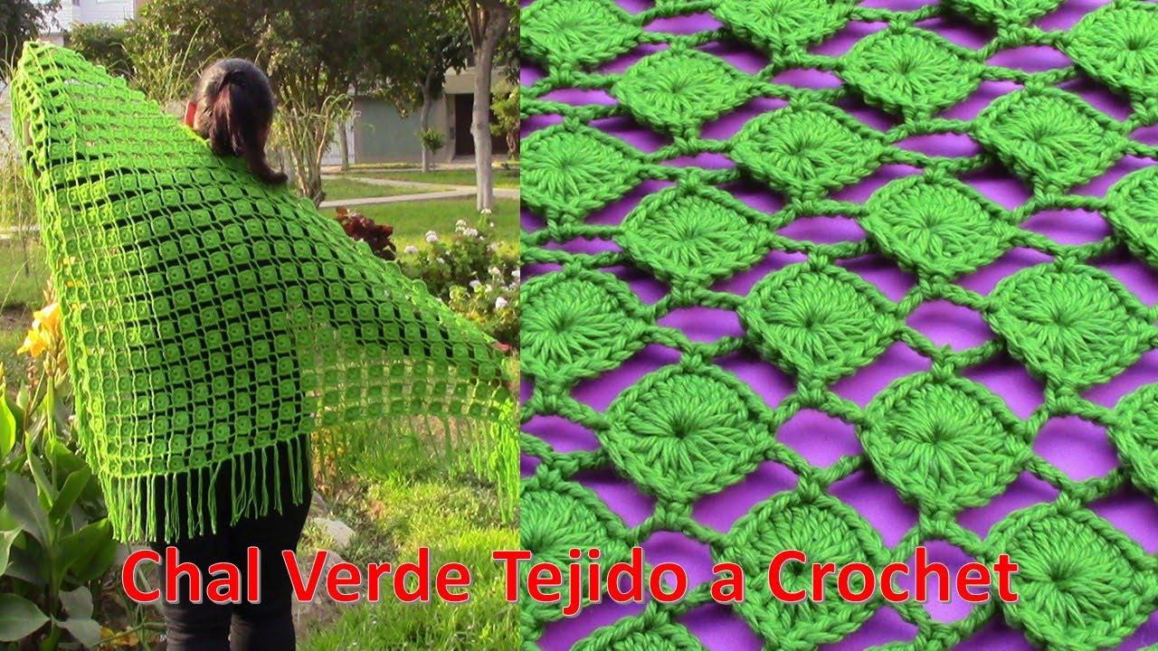 Chal triangular tejido a crochet en punto círculos paso a paso con ...