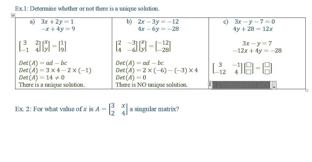 Singular Matrix (solutions, examples, solutions, videos)