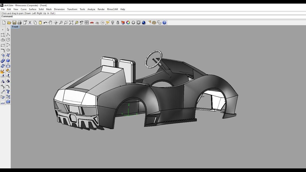 lamborghini golf cart full 3d modeling in rhino part 2
