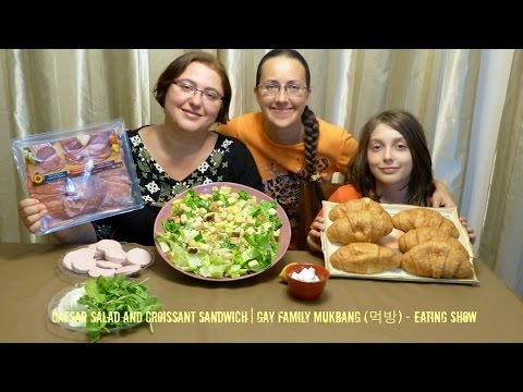 Caesar Salad And Croissant Sandwich | Gay Family Mukbang (먹방) - Eating Show