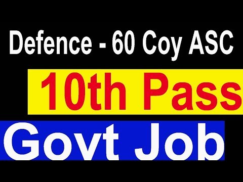 Ministry of Defence 10th Pass Group C Posts All India Vacancy 60 Coy ASC Sup Govt Job Today