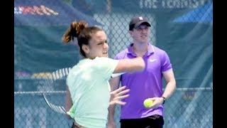 Maria Sakkari Mic'd Up Practice with Coach Tom Hill | 2020 Brisbane International
