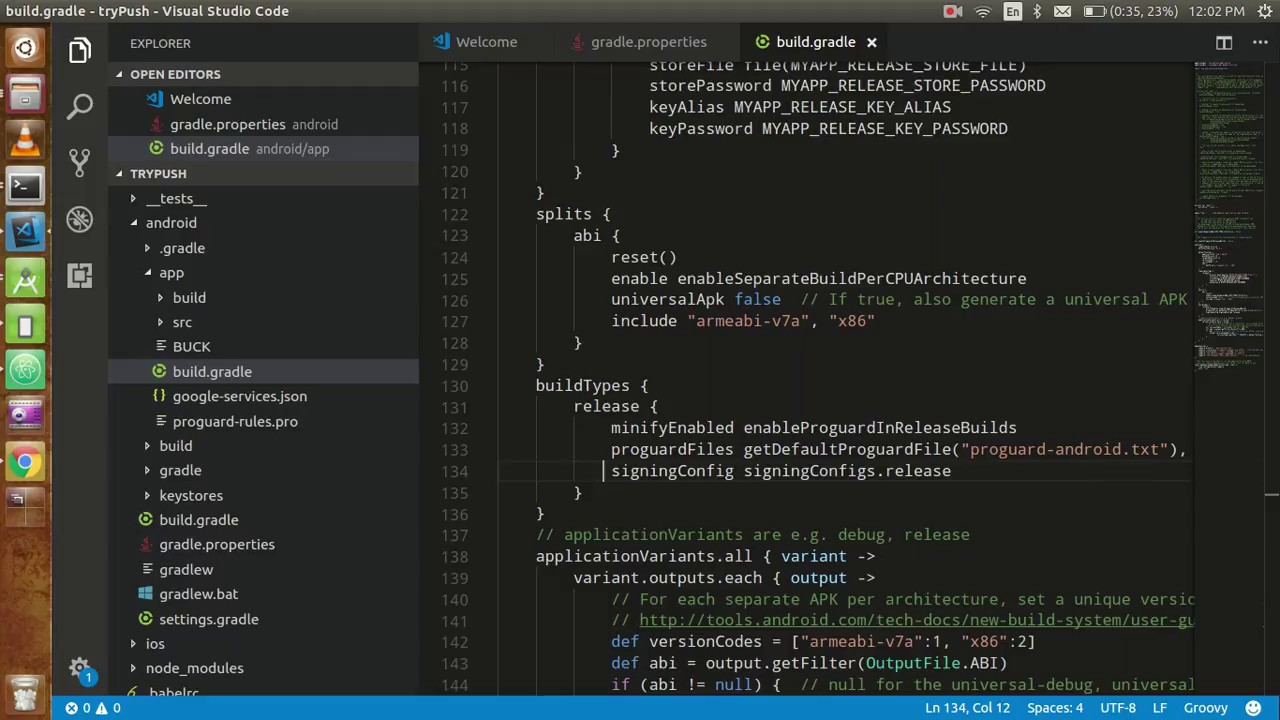 React-native tutorial # 28 Generate APK file