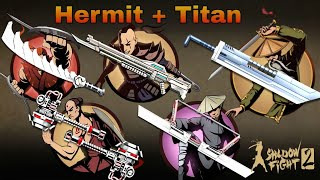 Shadow Fight 2 Hermit  and Bodyguards with Titan and Bodyguards Weapon