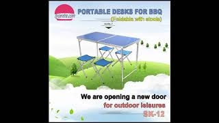 1.2m Portable folding aluminum BBQ table with stools
