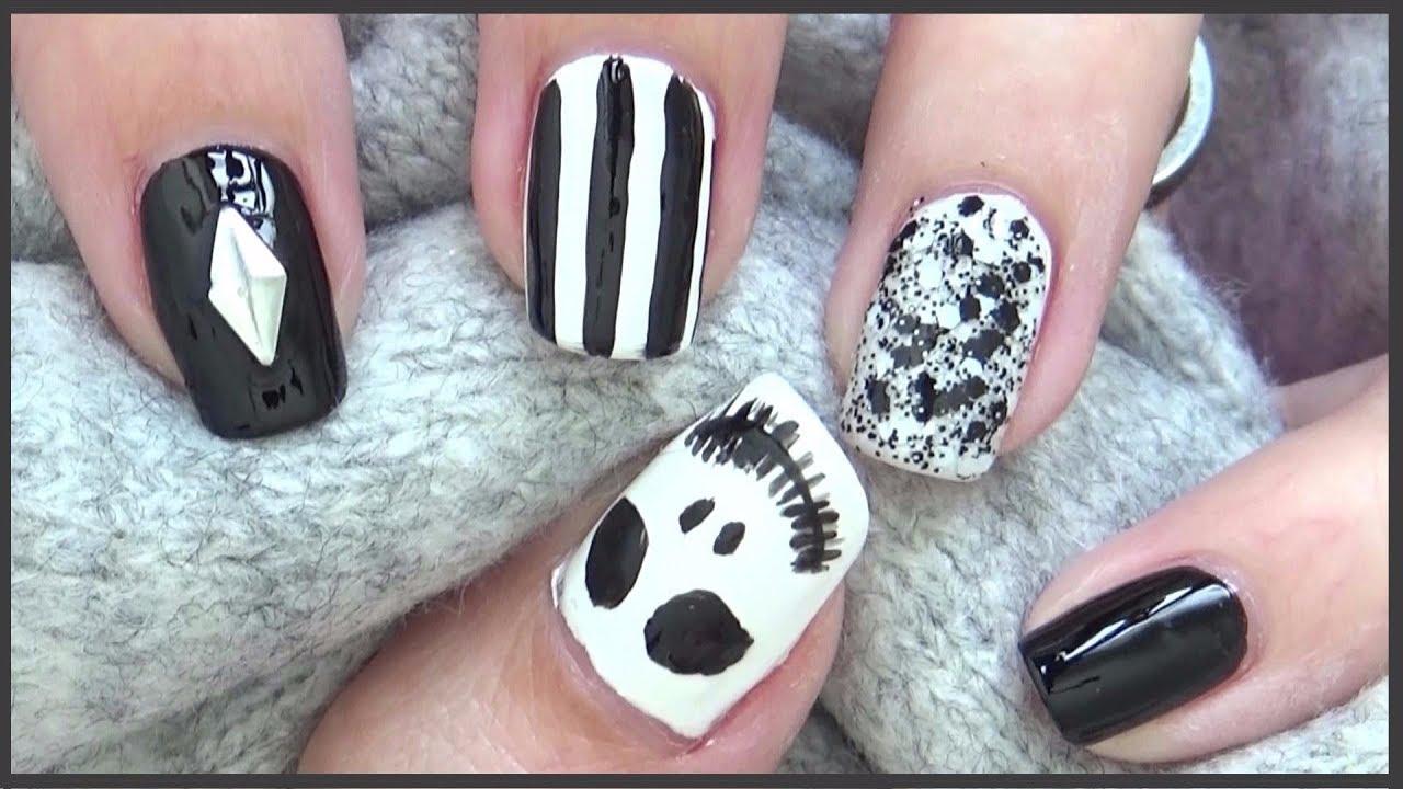 Jack Skellington Nails || Easy Halloween Nails 2017 - YouTube