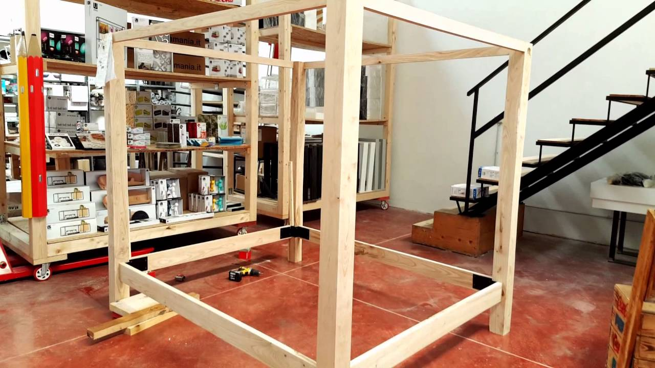 Letto baldacchino in legno massello di castagno xlab la fabbrica delle idee youtube - Letto a baldacchino in legno ...