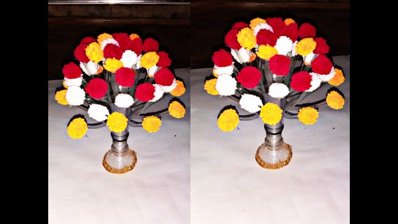 New Pom Pom Guldasta With Using Plastic Bottle Diy Woolen Craft