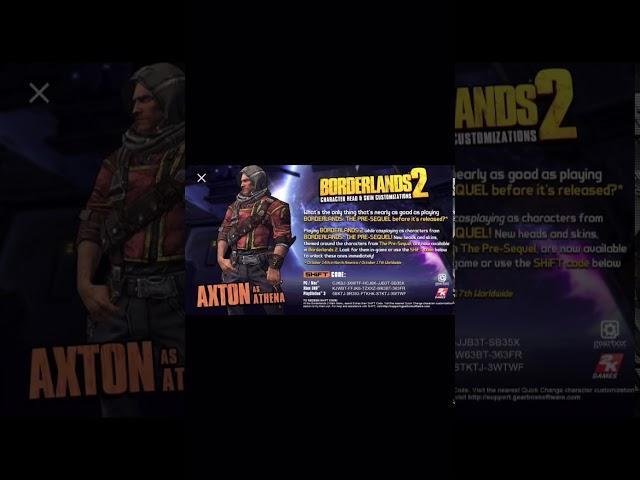 Borderlands 2 customization shift codes