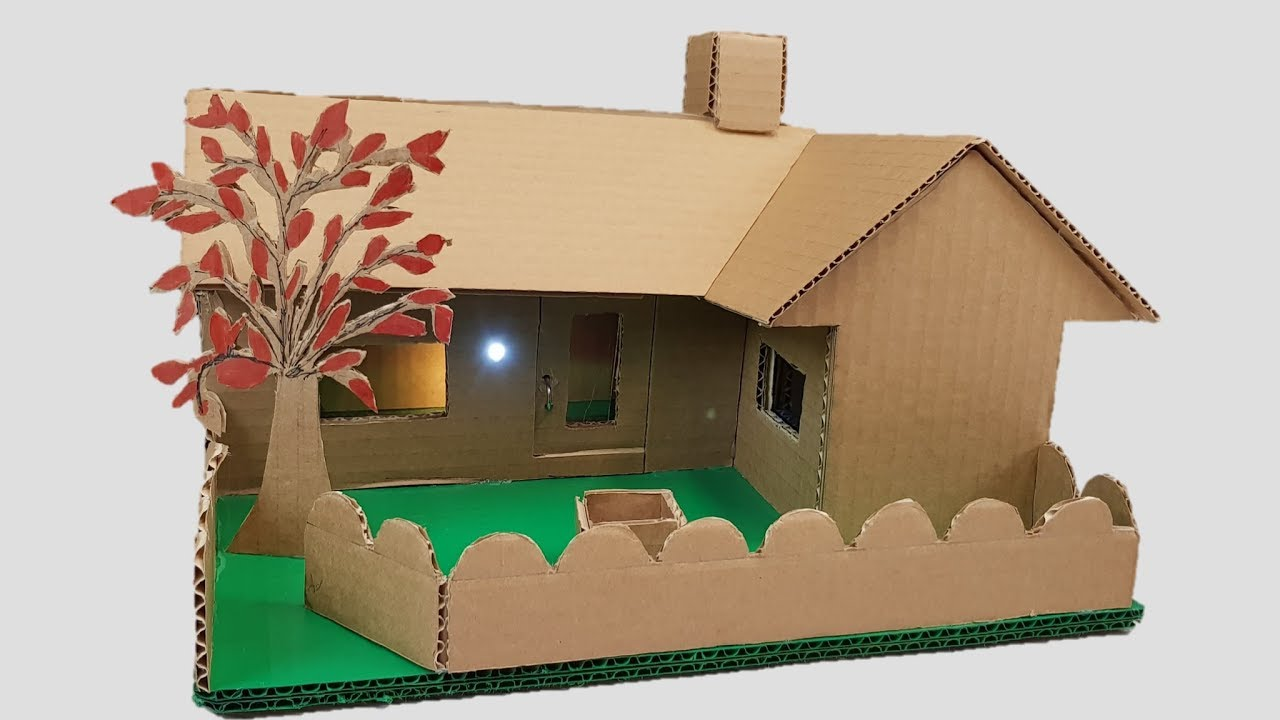 Building cardboard house garden villa dream house youtube for Build a 3d house online
