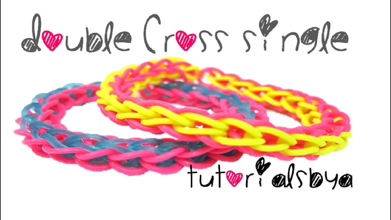 Double Cross Single Rainbow Loom Bracelet Tutorial - YouTube
