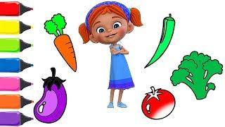 Elifin Düşleri Sebzeler Çizgi Filmi Boyma Renkleri Öğreniyorum