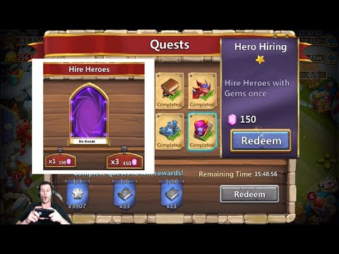 JT's Free 2 Play SICK Quest HERO ROLL + Unlocked Blitz Scroll Castle Clash